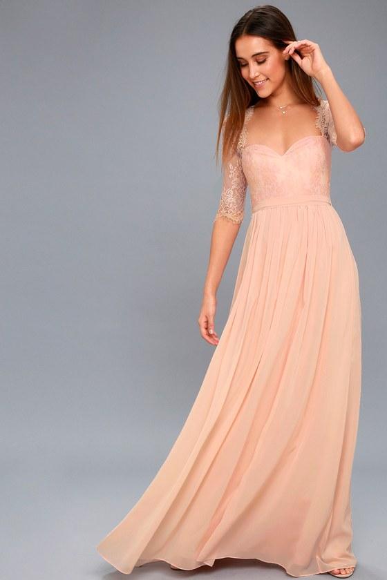 7261c38d766a Lovely Blush Dress - Lace Dress - Maxi Dress - Blush Gown