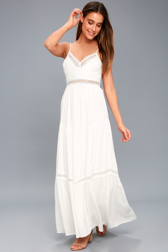 09b08ee3345 Lovely White Crocheted Lace Dress - Lace Maxi Dress