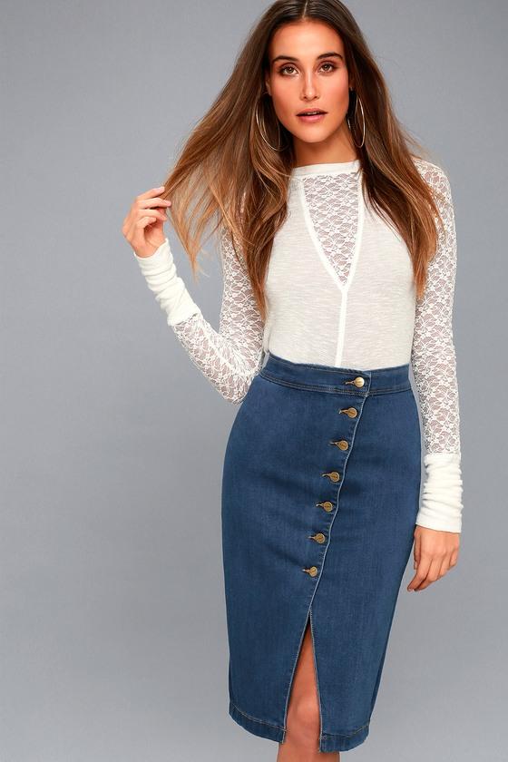 10faa5cb0e28 Trendy Denim Pencil Skirt - Medium Wash Denim Skirt