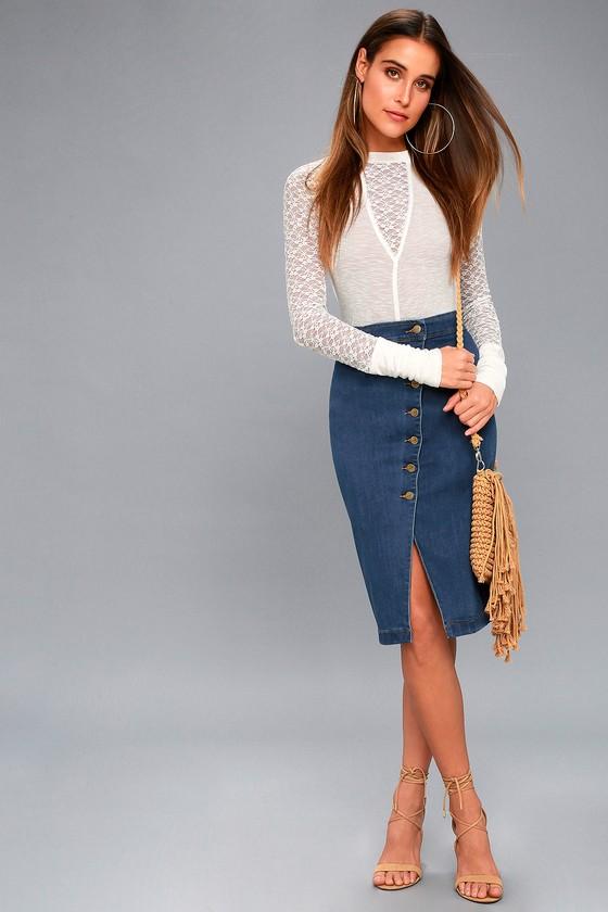 f24b632db91 Trendy Denim Pencil Skirt - Medium Wash Denim Skirt