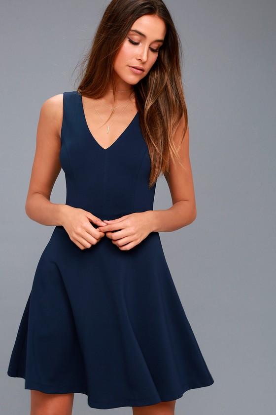 35ba04bc5e1 Cute Skater Dress - Stretch Knit Dress - Navy Blue Dress