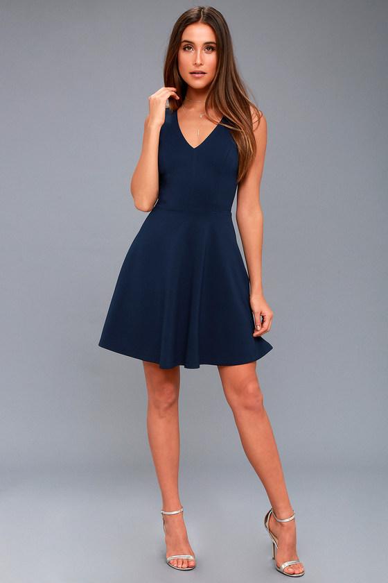 7649045fd9 Cute Skater Dress - Stretch Knit Dress - Navy Blue Dress