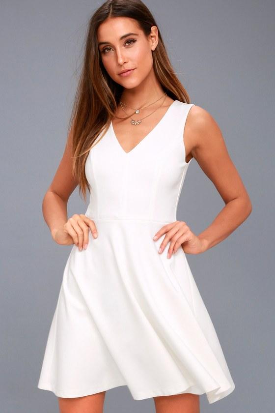 3fd4b01d1f45 Cute Skater Dress - Stretch Knit Dress - White Dress