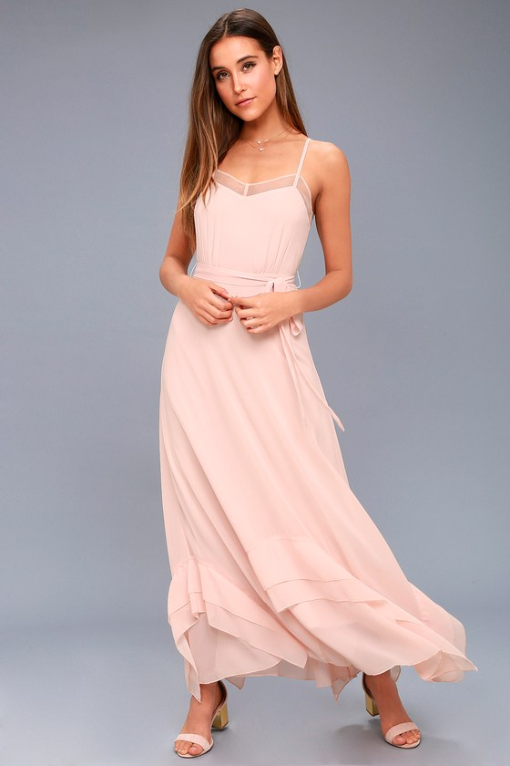 1930s Evening Dresses | Old Hollywood Dress Stars in Your Eyes Blush Pink Maxi Dress - Lulus $48.00 AT vintagedancer.com