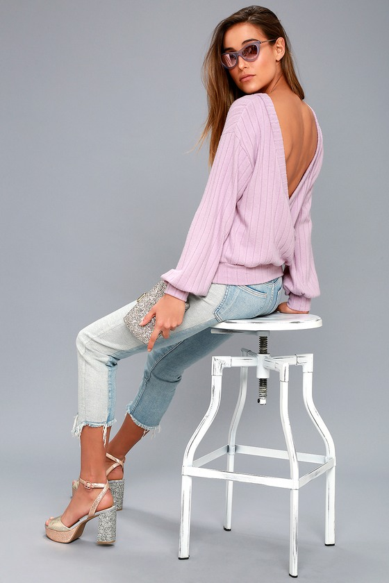 Sweetest Dreams Lavender Backless Sweater Top