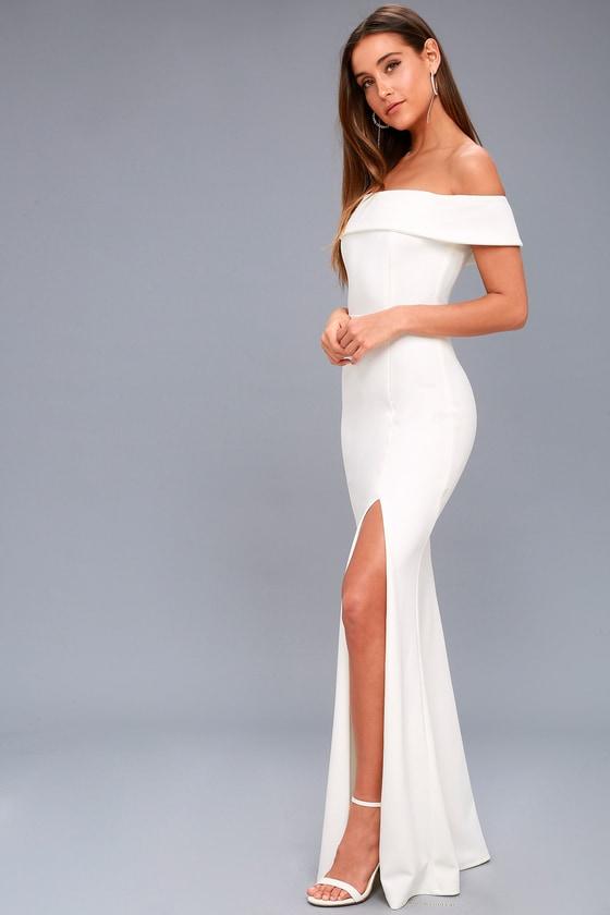 597a05cacb5bce White Maxi Dress - Off-the-Shoulder Maxi Dress - OTS Maxi