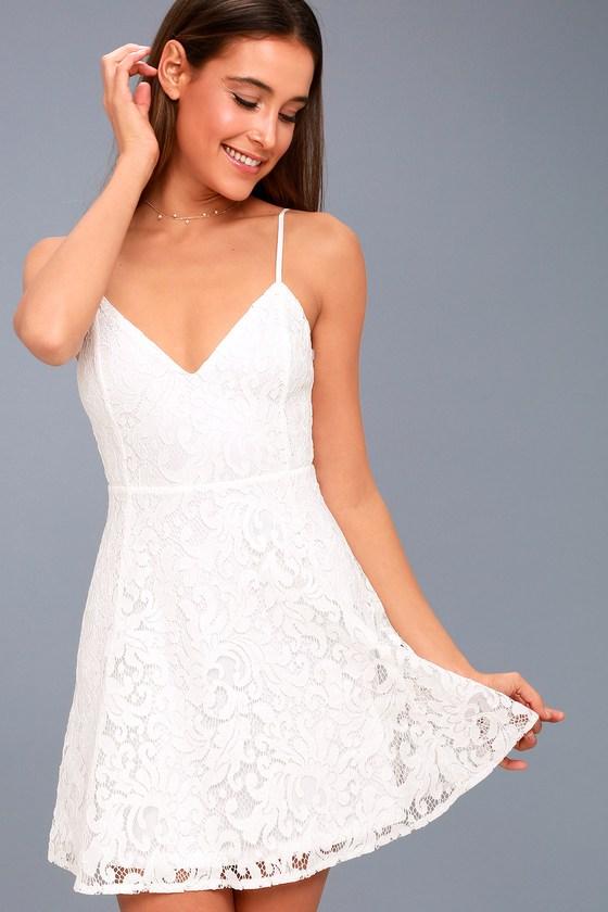 1734a2f0c73 Cute White Lace Skater Dress White Lace Mini Dress | 2019 trends ...