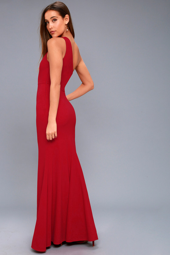 c12d6bf10568 Lovely Wine Red Maxi Dress - One-Shoulder Dress