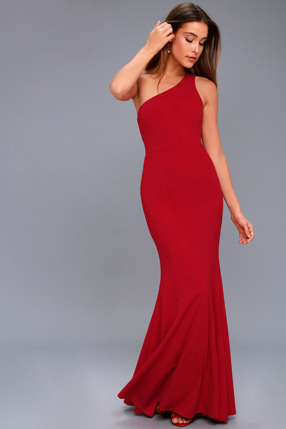 Brittany Wine Red One-Shoulder Maxi Dress