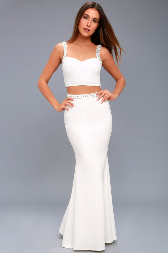 Wynne White Beaded Two-Piece Maxi Dress