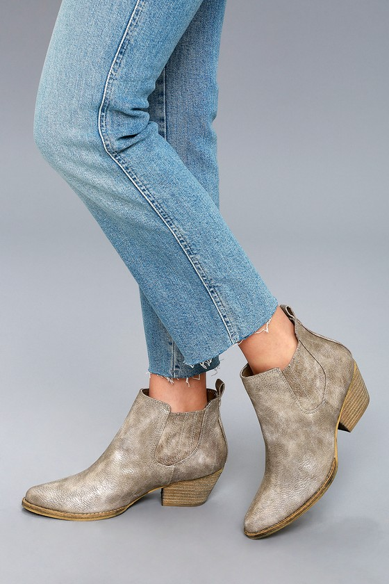 ab2a3574474 Motivate Taupe Ankle Booties