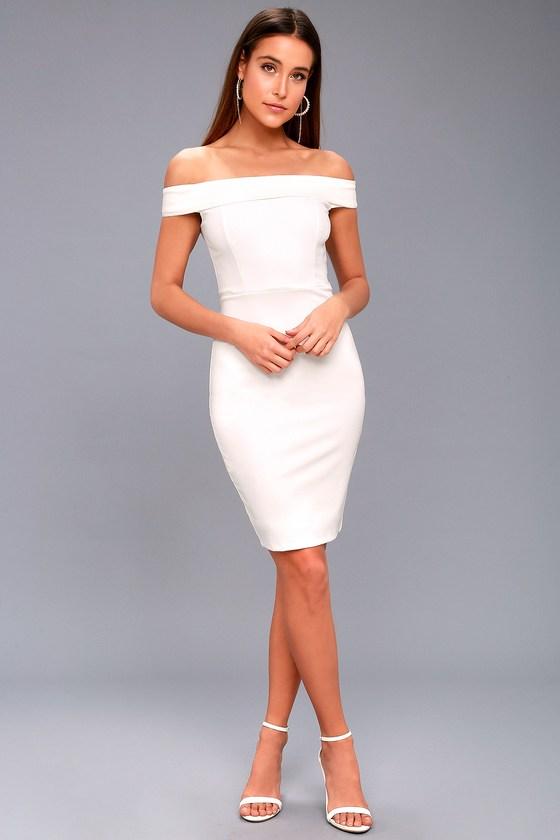 c8bfa6cf4eb Sexy White Dress - Off-the-Shoulder Dress - Bodycon Dress