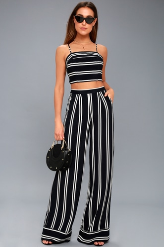 69ea34bba4f Coastal Living Navy Blue and White Striped Two-Piece Jumpsuit