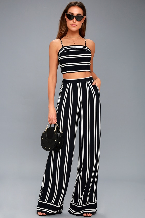 Coastal Living Navy Blue and White Striped Two-Piece Jumpsuit - Trendy Nautical Outfit