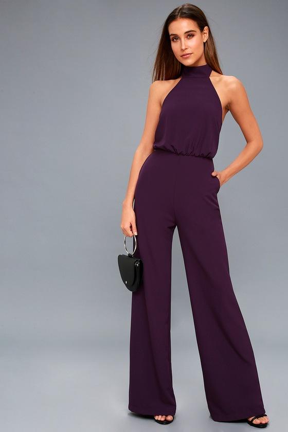 0853bb7a84fb1 Chic Jumpsuit - Purple Halter Jumpsuit - Wide Leg Jumpsuit