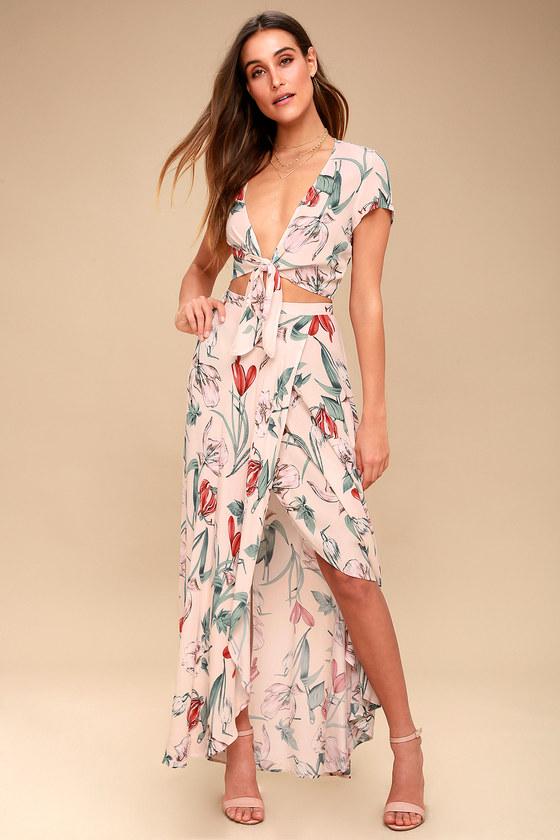 02bfa8ad3de57 Lovely Blush Pink Dress - Two-Piece Dress - Maxi Dress