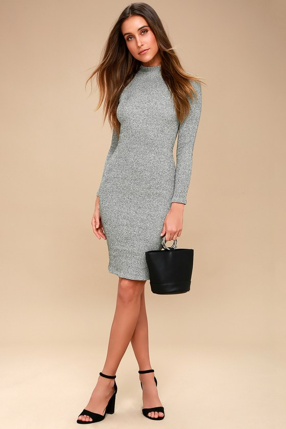 Chic Grey Dress Midi Dress Bodycon Dress Sweater