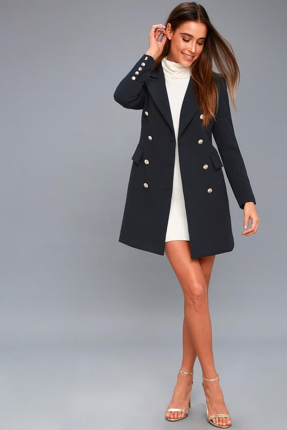 5776b71de9d Chic Navy Blue Coat - Double-Breasted Coat - Military Coat