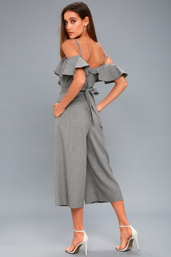 f2182d2a9ea Chic Grey Jumpsuit - Striped Jumpsuit - Ruffled Jumpsuit