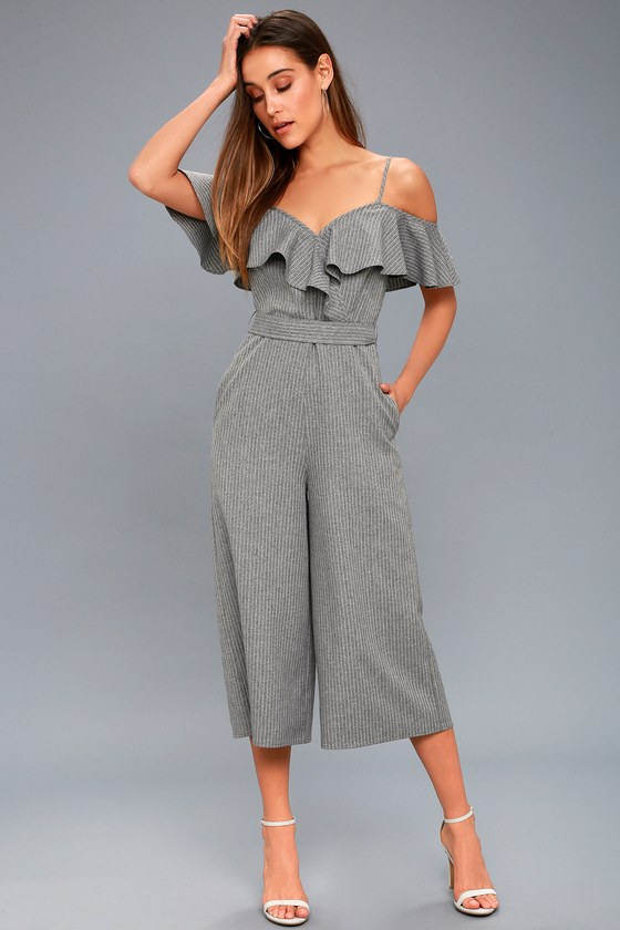 b0d7cbad702 Top of the Class Grey Striped Off-the-Shoulder Midi Jumpsuit