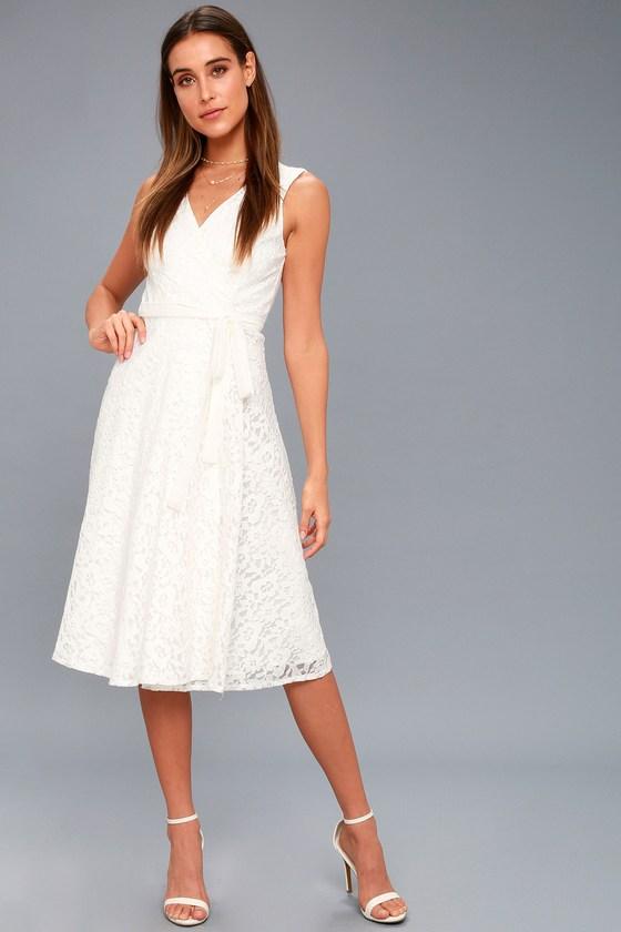 76ed43f7c0aeb Elegant White Dress - Lace Dress - Midi Dress - Wrap Dress