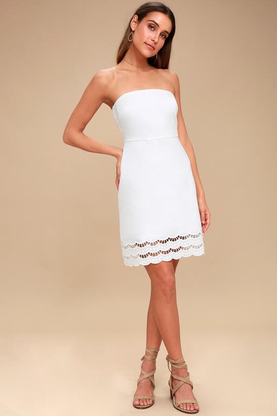 5921755b75e7 Cute White Strapless Dress - Scalloped Lace White Dress