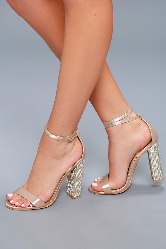 a6645004729 Viv Champagne Satin Rhinestone Ankle Strap Heels – Lulus –  47.00