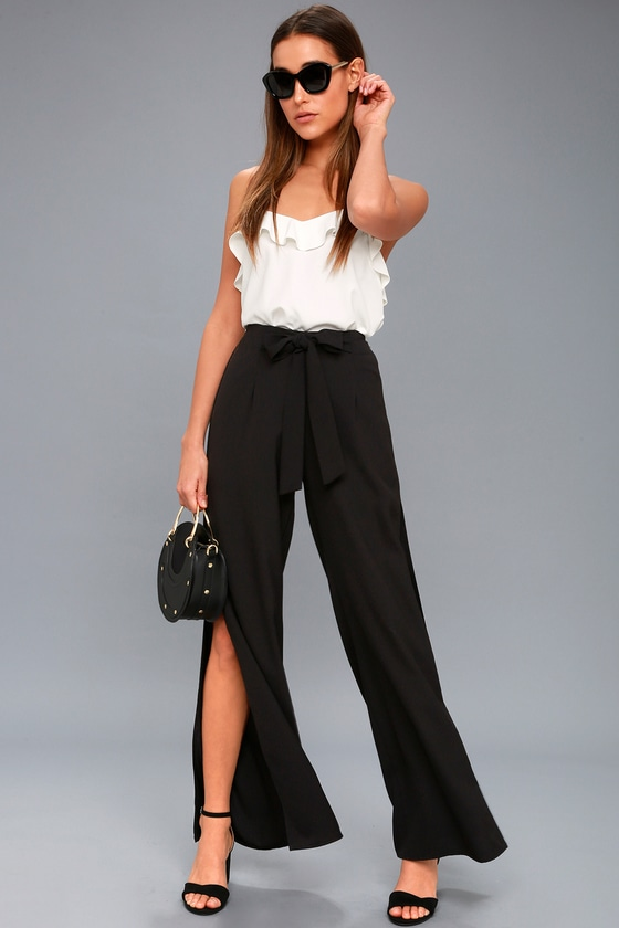 f55c51957d Chic Black Pants - Wide-Leg Pants - Side Slit Pants