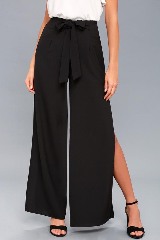 defbf9a0184 Chic Black Pants - Wide-Leg Pants - Side Slit Pants