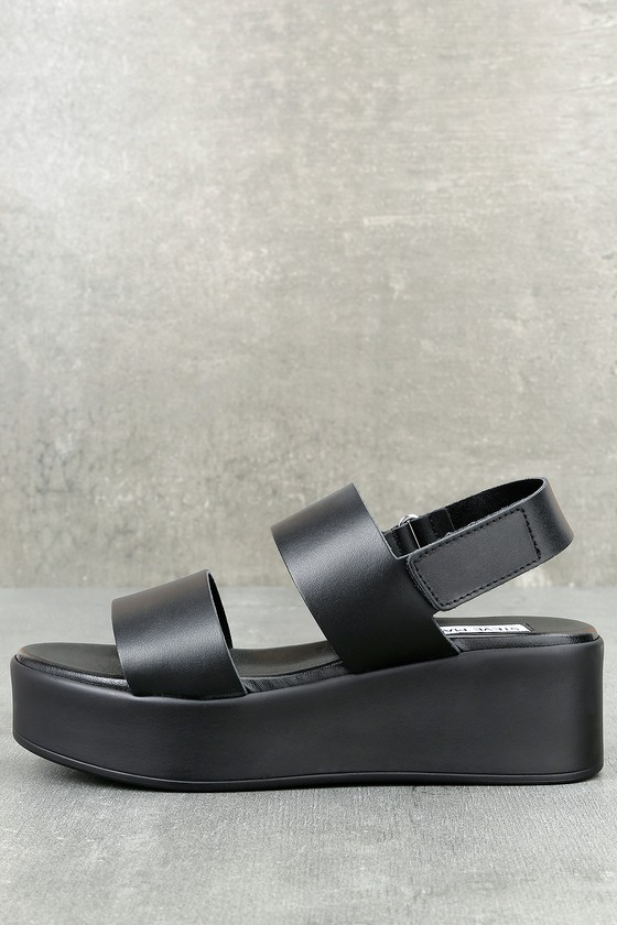 08a252e5786 Steve Madden Rachel - Black Leather Flatform Sandals