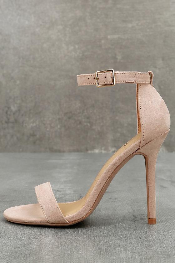 c234588923c3 Cute Nude Heels - Single Strap Heels - Vegan Suede Heels