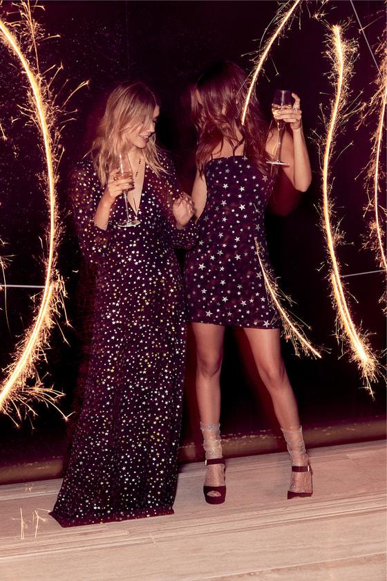 138fdc3c30dea Cute Glitter Star Print Dress - Tie-Back Dress - Mini Dress