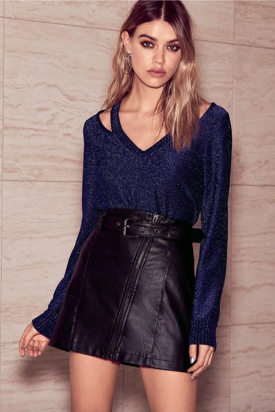 436706993 Cool Black Mini Skirt - Belted Vegan Leather Mini Skirt