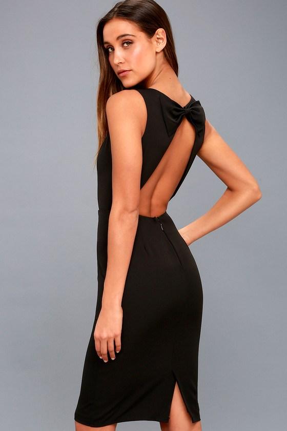 3789271387b Chic Black Midi Dress - Sleeveless Dress - Open Back Dress