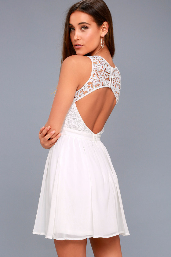 775a119a13 Lovely White Dress - Lace Dress - Lace Skater Dress