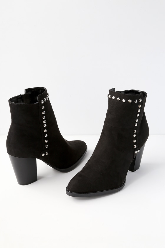 5d90e3bf35f7 Cute Black Booties - Vegan Suede Booties - Studded Booties