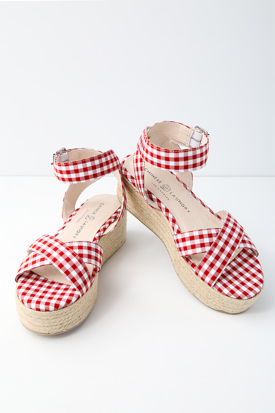 b0c523cd092f Chinese Laundry Zala - Gingham Sandals - Flatform Sandals