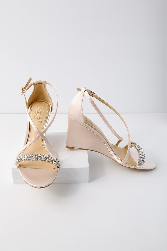 ef404a93f6e6 Jewel by Badgely Mischka Little - Champagne Satin Wedges