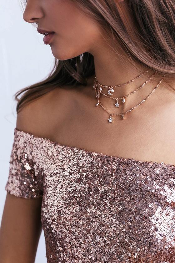 Cute Rose Gold Rhinestone Necklace Layered Choker Lulus