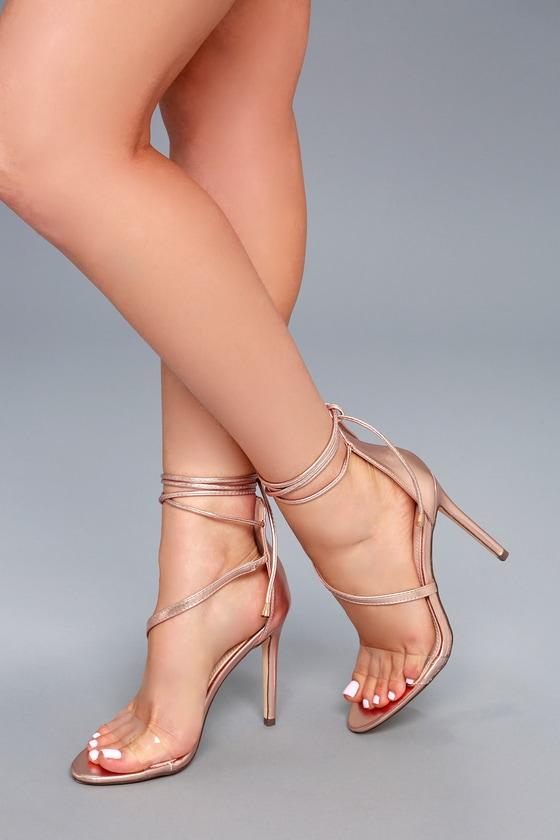 e996b1ee73 Sexy Rose Gold Heels - Vegan Leather Heels - Lace-Up Heels