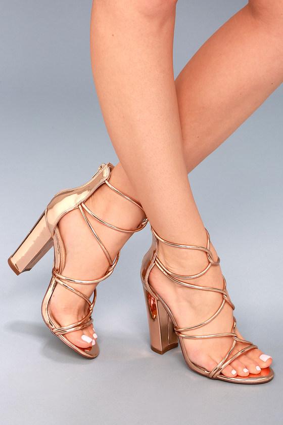 Sexy Rose Gold Heels - Patent Heels - Dress Sandals a097929cf4ae
