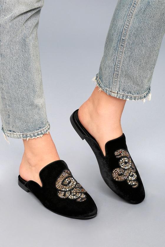 4fda60e40ee Hyde Black Velvet Rhinestone Loafer Slides