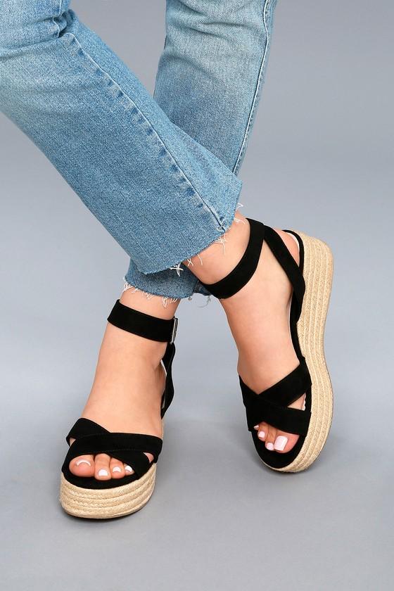 black suede flatform sandals