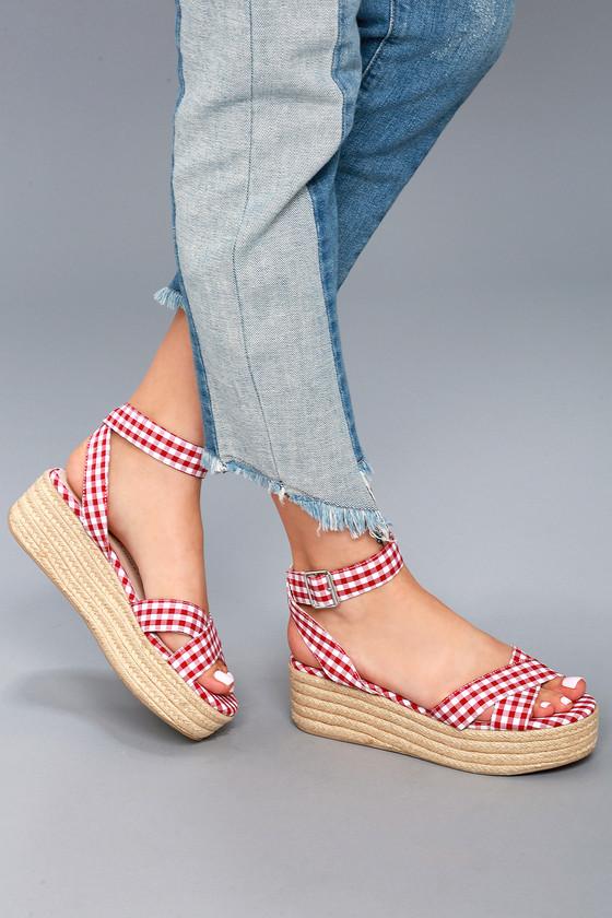 bb3141581fc Chinese Laundry Zala - Gingham Sandals - Flatform Sandals