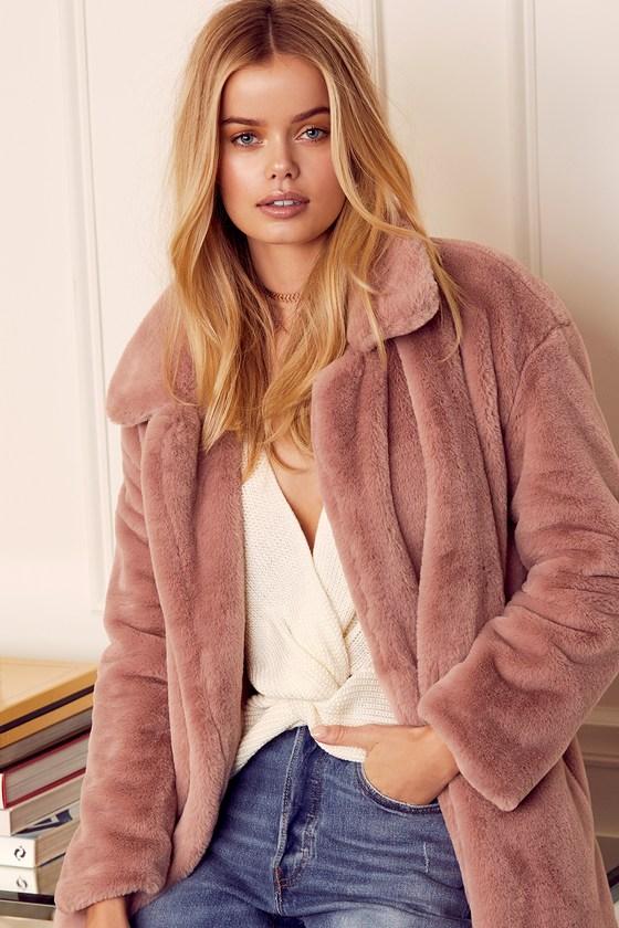 314f7a4855 Glamorous Faux Fur Coat - Dusty Pink Coat - Long Coat