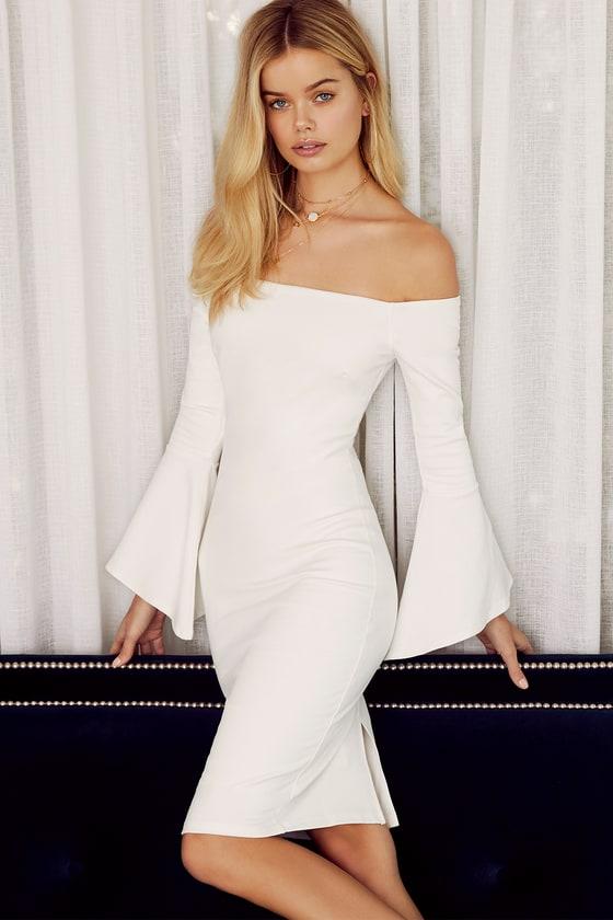 f0fb66442 Chic White Dress - Off-the-Shoulder Dress - Midi Dress