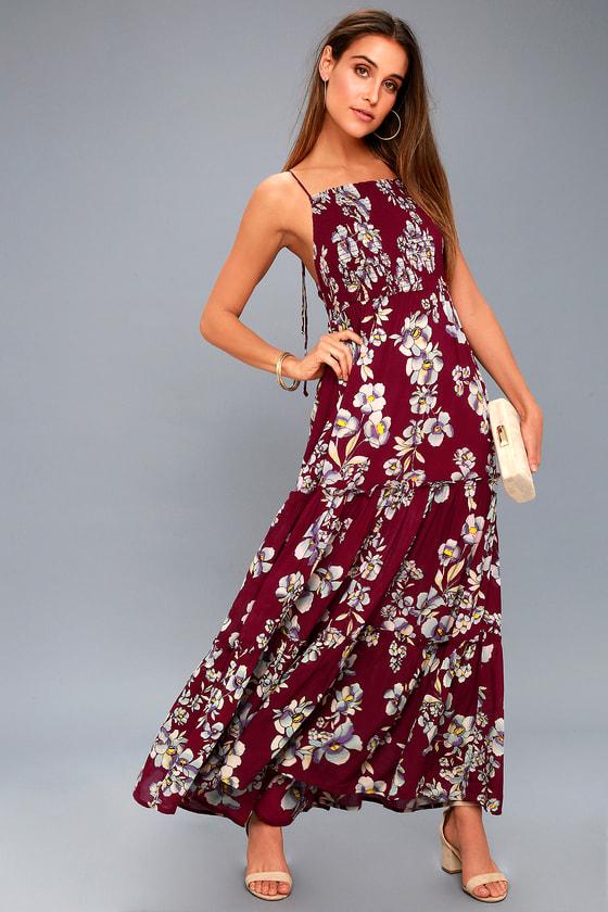 5feb3ebb2 Free People Garden Party Dress - Burgundy Floral Print Dress