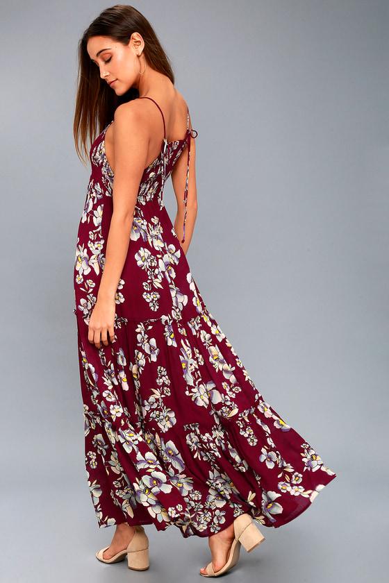 bb06b777e2 Free People Garden Party Dress - Burgundy Floral Print Dress