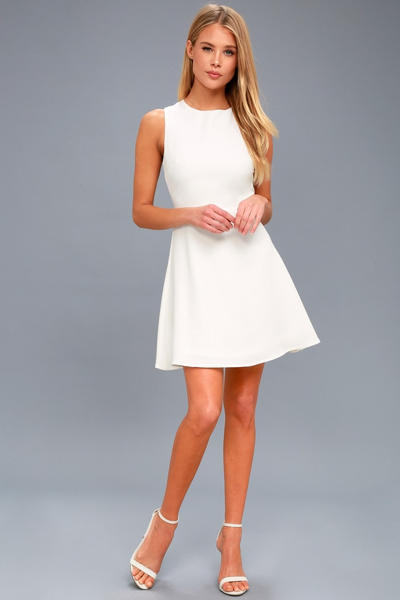 11d85c346f6 Cute White Dress - Backless Dress - Backless Skater Dress