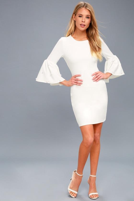 4370378e7a Chic White Bodycon Dress - Pearl Dress - Flounce Sleeve